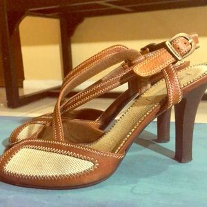 Burberry linen and brown leather slingbacks
